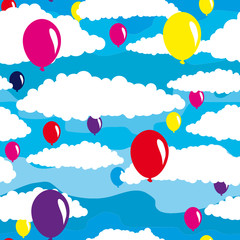 Papiers peints Ciel Seamless background with air balloons