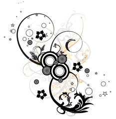 cercles floral noir et beige