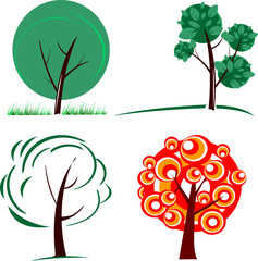 three green trees and a red one