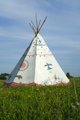 Photo Stands Indians tipi