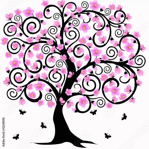 Albero di ciliegio astratto con fiori e farfalle for Fiori stilizzati immagini
