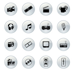 Web (media) buttons (silver)