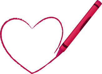 Heart drawn by Crayon - vector illustration