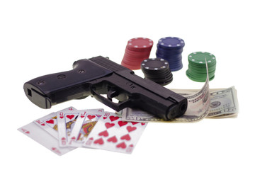 Gun, Chesspieces and money  isolated on white background