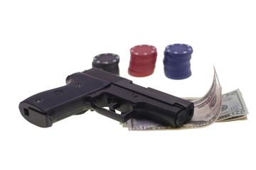 Chesspieces, gun  and money