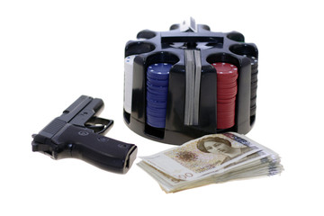 Chesspieces, gun  and money