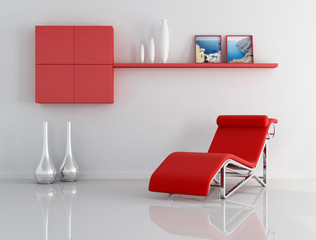 red and white relax room