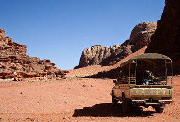 Safari in the desert Wadi Rum. Jordan