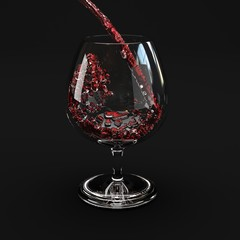 Red wine splashing out of a glass.isolated black background.