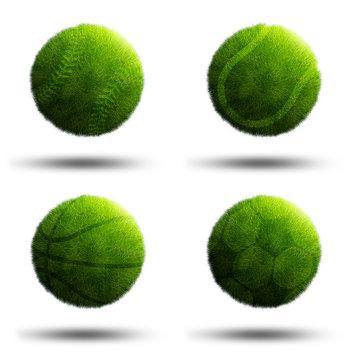 Sport planets of football, baseball, tennis and basketball