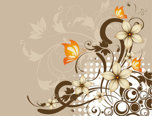 Floral abstraction with butterflies