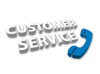 """Customer Service"" with telephone symbol"