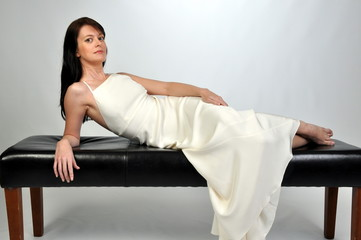 brunette in evening gown