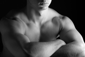 B&W Young Sporty Man over Black Background, Body Parts