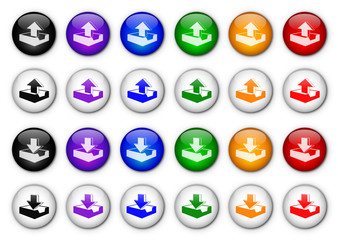 Upload & Download buttons poster (x24 - Multicoloured)