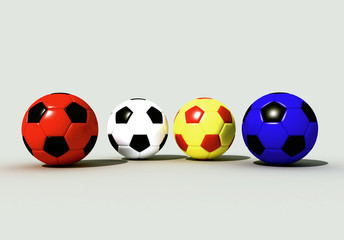 four colored  soccer-balls