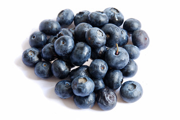 A view of blueberries on white background