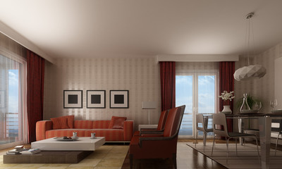 living room in modern stle in red tones