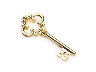 Golden skeleton key isolated
