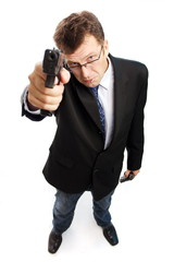 Angry criminal businessman point guns up on camera