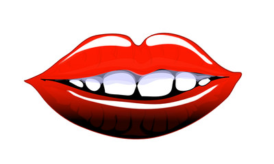 Comic style lips smiling