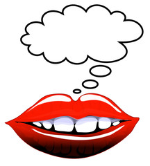 Comic style lips with blank speech bubble