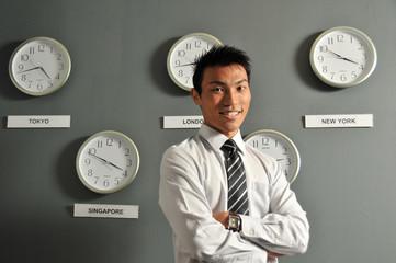 Male Executives With International Clocks