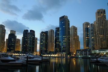 Dubai Marina at dusk, United Arab Emirates