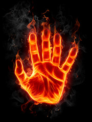 Wall Murals Flame Fire hand