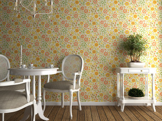 flowery wallpaper interior
