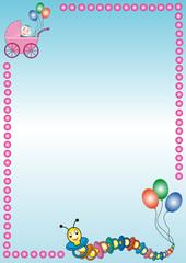 hintergrund mit kinderwagen und raupe und ballons