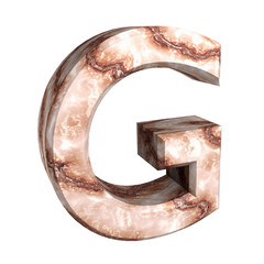 3d letter G in marble