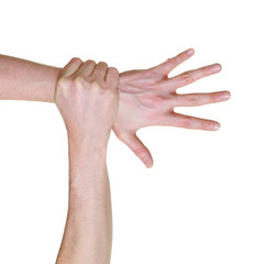 hand caught and grabbed over wrist isolated on white