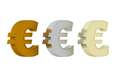 Euro symbol - Three precisious metals