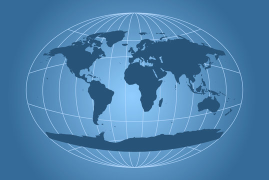 Classic world map with oval grid