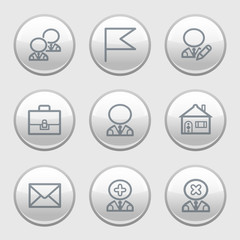 Gray disk web icons, set 1