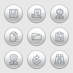 Gray disk web icons, set 3