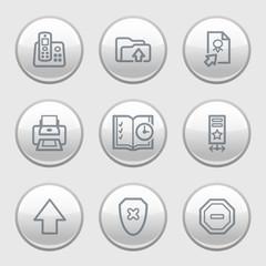 Gray disk web icons, set 4