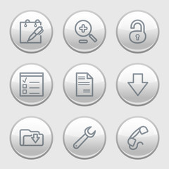 Gray disk web icons, set 8