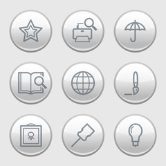 Gray disk web icons, set 9