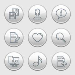 Gray disk web icons, set 10