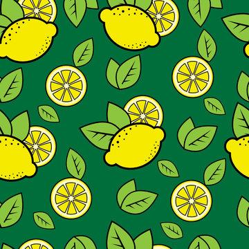 Seamless green pattern with cute lemons