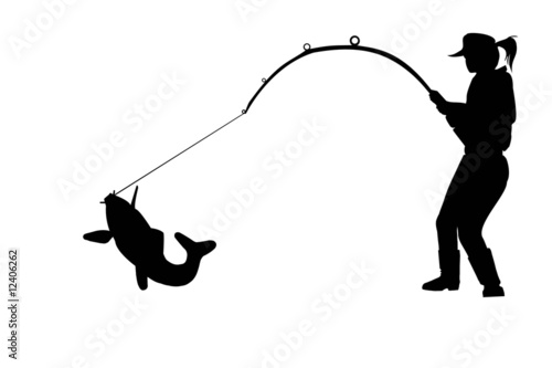 Silhouette Of Fisher Woman With Carp Stock Photo And