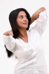 Teenage girl in white shirt