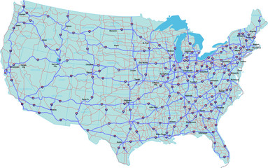 USA Interstate Map