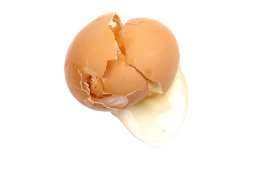 Cracked brown egg isolated on white background.