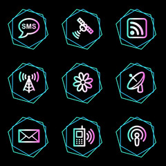 Communication web icons, neon contour series