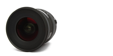 wide angle camera lens on white background
