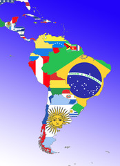 symbolic image: Latin America: : outline and flags