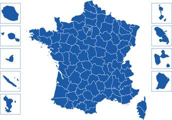 Fototapeta premium Francuskie departamenty z DOM i TOM
